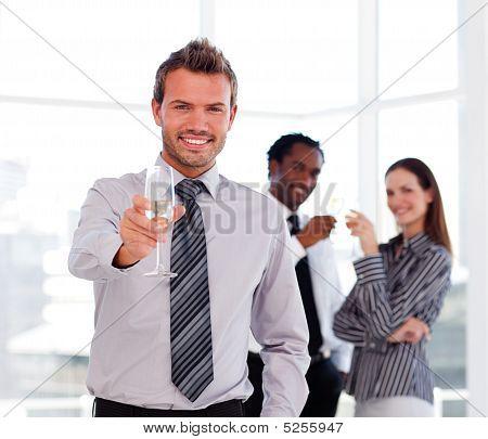 Handsome Businessman Celebrating A Success