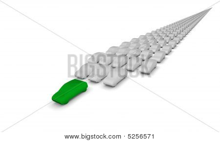 Green Car Leading
