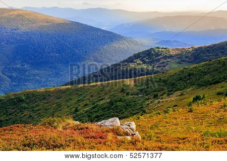 Autumn Color  Illusion In Mountain Landscape By Sunlight