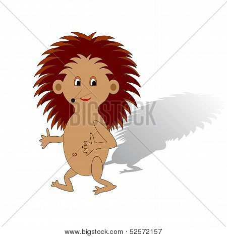 A Funny Cartoon Hedgehog On A White Background