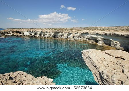 Sea Caves, Cape Greko, Agia Napa, Cyprus, Europe poster