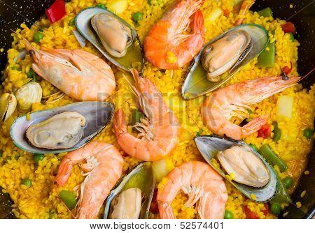 Paella -traditional spanish dish background