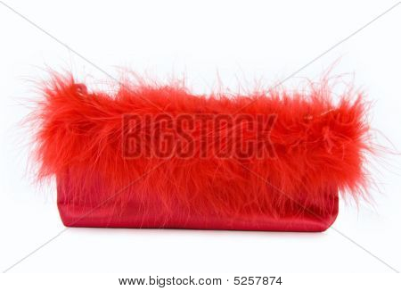 Glamour Girl - Red Silk Party Purse With Feathers