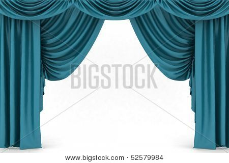 poster of Open blue theater curtain, background