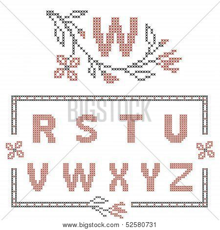 Design elements for cross-stitch embroidery. Red and black vector illustration. Floral frame for letter. Letters R-Z. poster