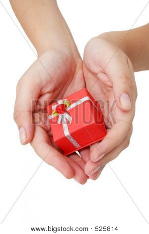 hands holding red gift box poster