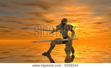 3d render of warrior woman in pose poster