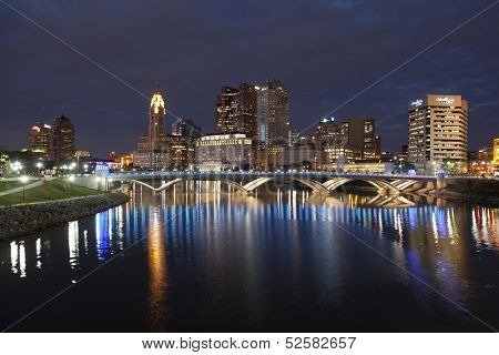 COLUMBUS, OHIO - OCTOBER 18, 2013: The new Rich Street Bridge lights the waters of the Scioto River on October 18, 2013