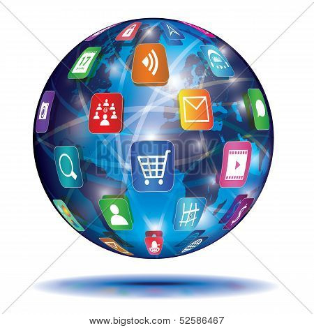 Концепция Интернет. Глобус. Иконки приложений.