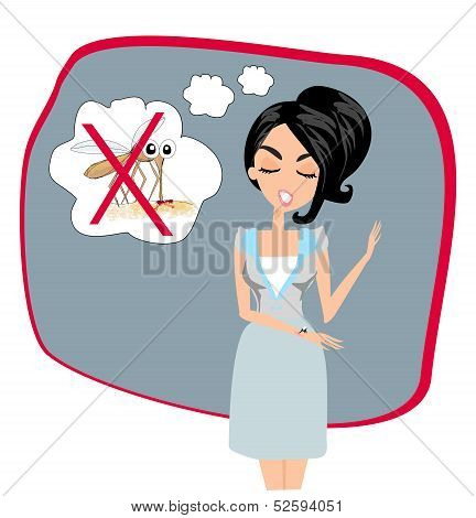 girl kill mosquito in her imagination vector art and illustration poster
