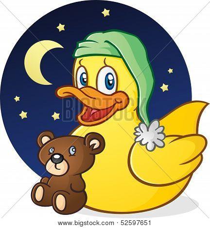 Sleepy Rubber Duck with Teddy Bear
