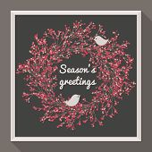 Holly wreath with two pretty birds. Season's greetings. poster