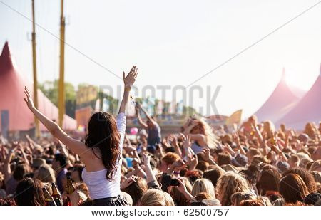 Crowds Enjoying Themselves At Outdoor Music Festival