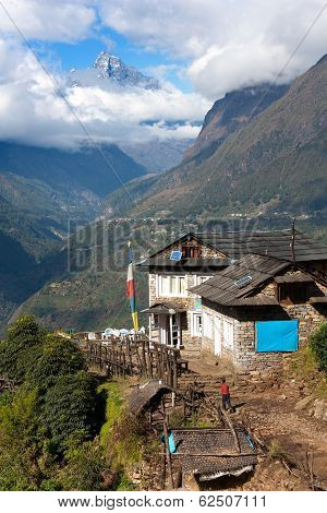 portse thanga peak and entrance to khumbu valley - Lukla - Nepal poster