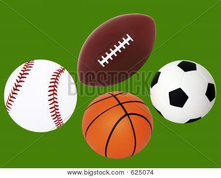 Isolated Baseball, Football, Basketball And Soccer Ball