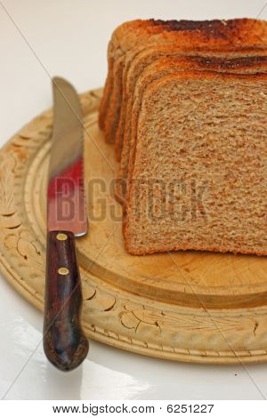 bread knife and board.