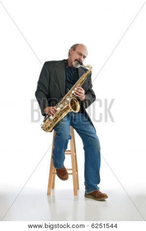 Man Playing Blues On A Tenor Sax