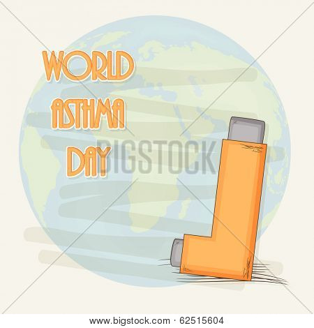 World Asthma Day concept with asthma inhaler with globe and stylish text.