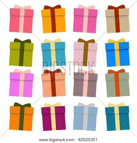 Vector Present Boxes, Gift Boxes Set Isolated on White Background