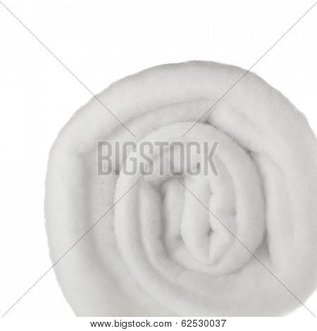 poster of Roll of white fleecy synthetic polyester material isolated on white background
