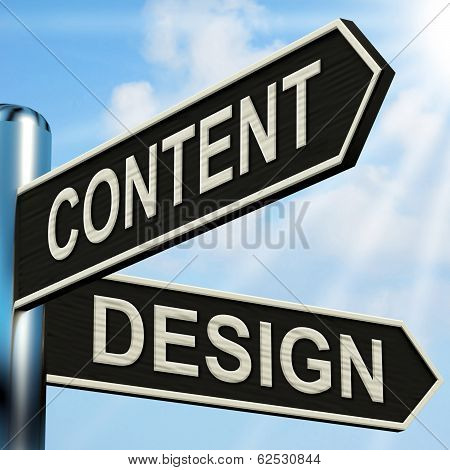 Content Design Signpost Means Message And Graphics
