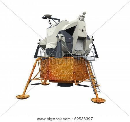 Apollo Lunar Module isolated on white background. 3D render poster