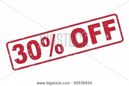 Stamp 30 Percent Off With Red Text On White