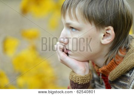 Portrait of a sad little boy outdoors