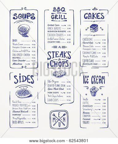Menu template. Blue pen drawing.Soups, sides, bbq & grill, steaks & chops, cakes, ice cream
