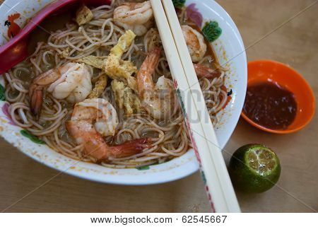 Spicy Laksa Mihun With Prawn, A Malaysia's Local Traditional Dish