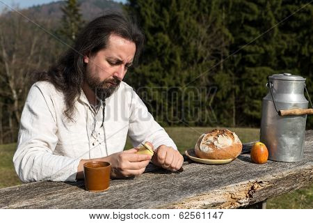 Bearded Man Making Picnic In The Nature