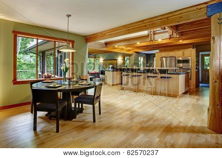Kitchen And Dining Room Interior.