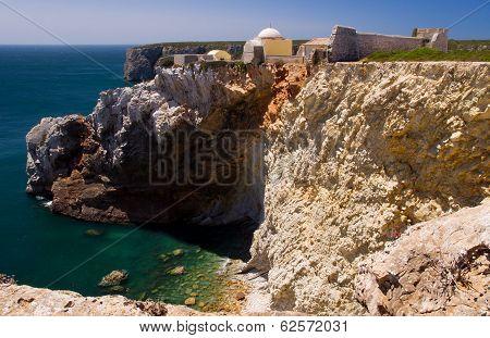 Cape Saint Vincent In The Algarve, The Fortaleza De Beliche, Near Sagres Town, Algarve Portugal.