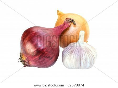 Purple Onion And Garlic Isolated On White