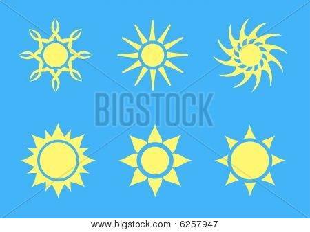 set of six simple vector suns