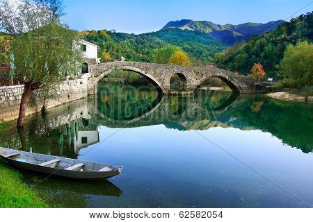 Arched bridge reflected in Crnojevica river Montenegro Balkans poster