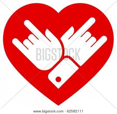 Rock in heart vector icon