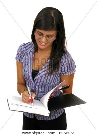 Portrait Of Beautiful Woman Writing