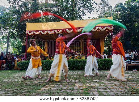 Men Dancers Performing In Holi Celebration, India