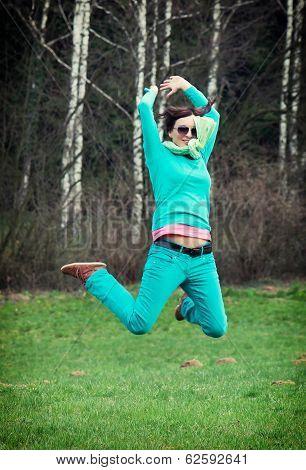 Beautiful Woman In Jump