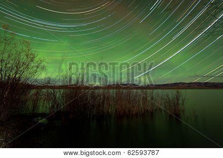 Startrails Aurora Borealis Display Lake Laberge