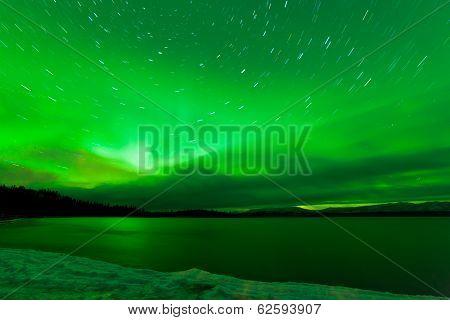 Aurora Borealis Starry Night Sky Over Lake Laberge