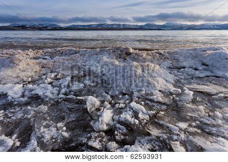Shore Ice Piling Up Lage Laberge Yukon Canada