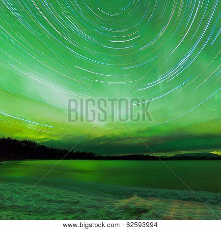 Aurora Borealis Startrails Frozen Lake Laberge