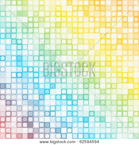 Abstract square colored pixels and round dots mosaic vector background poster