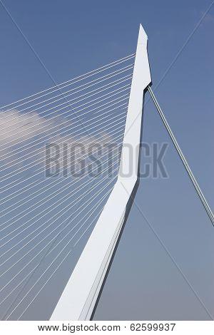 Rotterdam, The Netherlands - June 15th, 2013: Erasmusbridge against blue sky