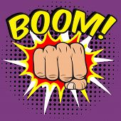 Pop art comic poster with boom clenched hand fist power human hit vector illustration poster