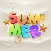 3d summer on the beach sand with starfish, shell and pearls. Elements are layered separately in vector file. poster