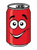 Red cartoon soda or soft drink can with a smiling face isolated on white for fast food design poster