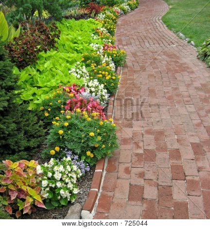 Brick Walkway In Garden